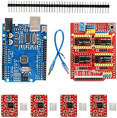 4pcs Stepper motor controller A4988 with heat sink for 3D printer UNO R3 Board 【3D printer kit】 CNC Shield V3.0