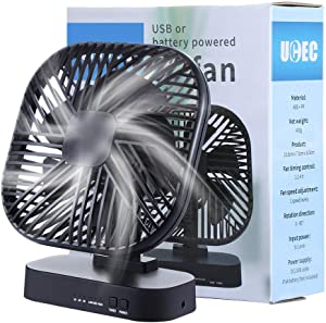 UCEC Desktop Fan, 5 Inch Small Quiet USB Electric Fan with Timer Function, Ideal For The Home, Office, Dorm, Air Circulator Fan for Better Cooling, 3 Speeds, 3 ft Cord