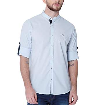 05a229cc Image Unavailable. Image not available for. Colour: Urban Scottish Mens Cotton  Poplin Sky Blue Slim Fit Casual Shirt