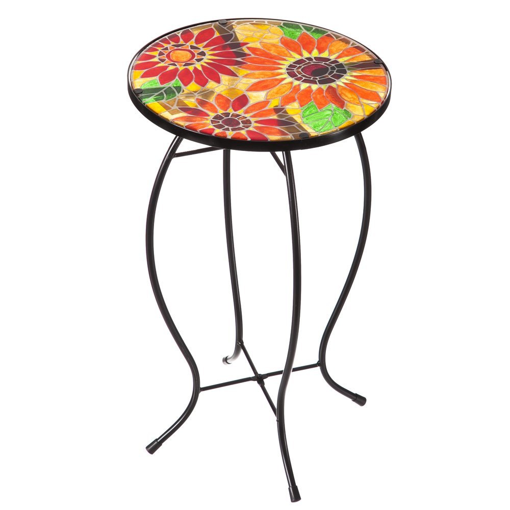 Evergreen Garden Outdoor-Safe Sunflowers Faux Mosaic Glass and Metal Side Table - 12.25'' L x 12.25'' W x 20'' H by Evergreen Garden