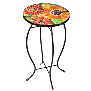 "Evergreen Garden Outdoor-Safe Sunflowers Faux Mosaic Glass and Metal Side Table - 12.25"" L x 12.25"" W x 20"" H"
