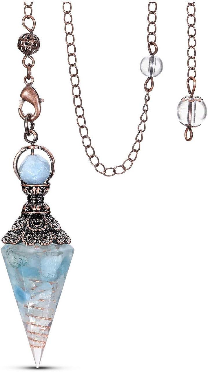 CrystalTears - Péndulo vintage de chakra, piedra natural y colgante de resina para divinación radioestesia cristal terapia bronce