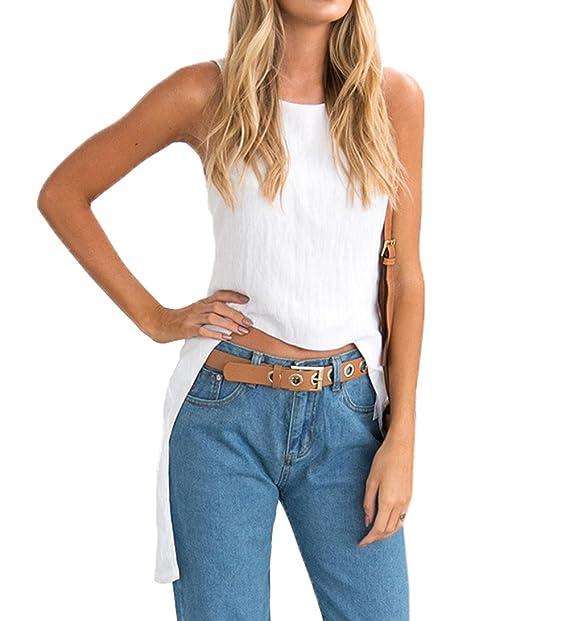 Verano Nuevo Mujeres Slim Tops Casual Cuello Redondo Camisetas Sin Mangas Blusa tee Moda Backless Irregular Camisas Remata Camisolas: Amazon.es: Ropa y ...