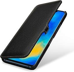 StilGut Housse pour Huawei Mate 20 Pro Book Type en Cuir, Noir avec Clip