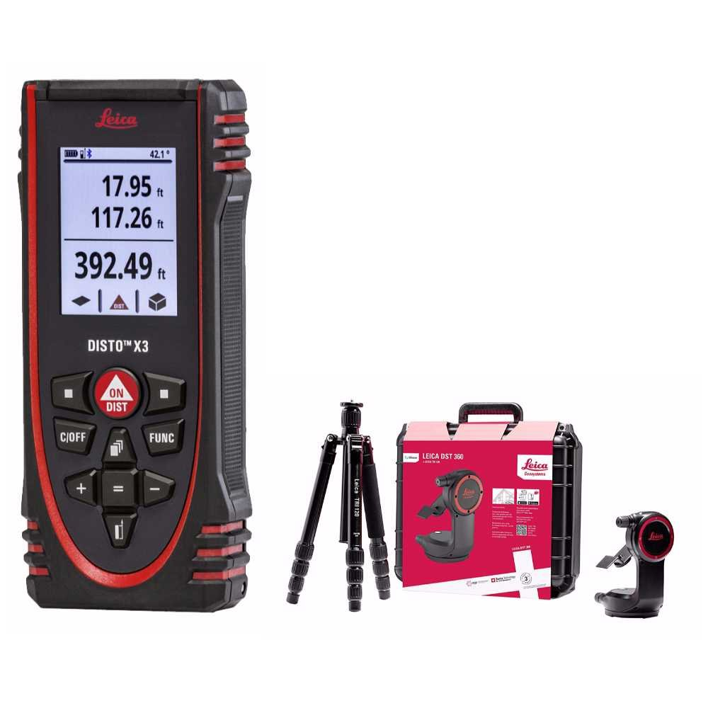 Leica 850834 Disto X3 Laser Distance Meter with 848783 DST360 Point to Point Accessory