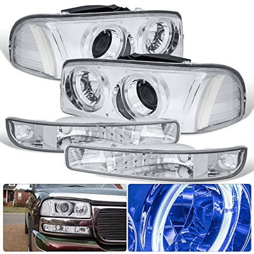 For GMC Sierra Yukon Chrome Housing Clear Lens Reflector Halo Projector Headlight + Signal Turn Bumper Light Lamp Upgrade (Projector Chrome Clear Headlight)