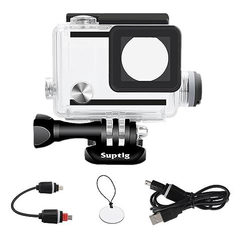 Suptig - Carcasa impermeable recargable para cámara de acción exterior GoPro Hero 4 Hero 3+ Hero 3 para carga bajo el agua – resistente al agua hasta ...