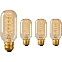 Juneslife filamento luz Vintage bombilla T45 40W decorativa retro luz de tungsteno E26 E27 para patio patio jardín boda sala Dormitorio pasillo Patio paquete de 4 estilo espiral