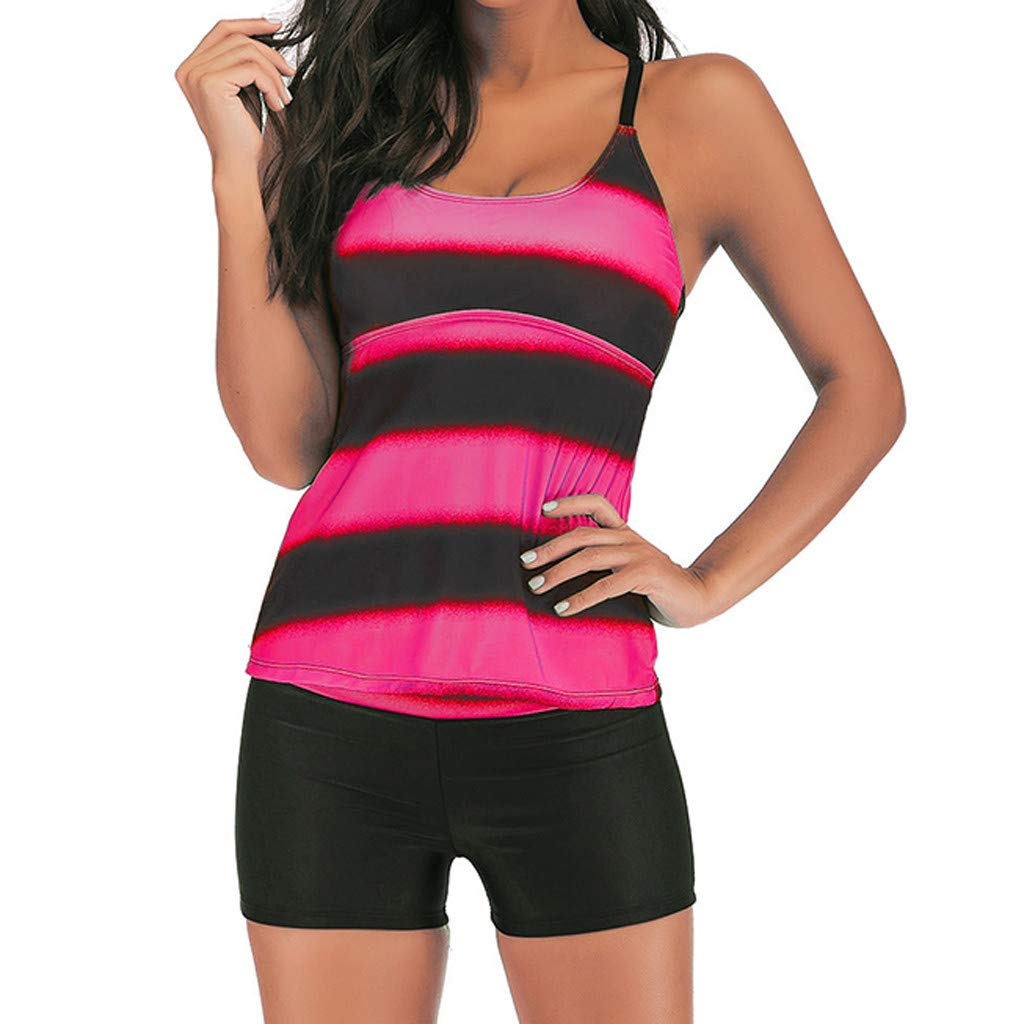Mitiy Women Swimwear Striped Printed Strappy Push up Tankini Top with Shorts Two Piece Swimsuit