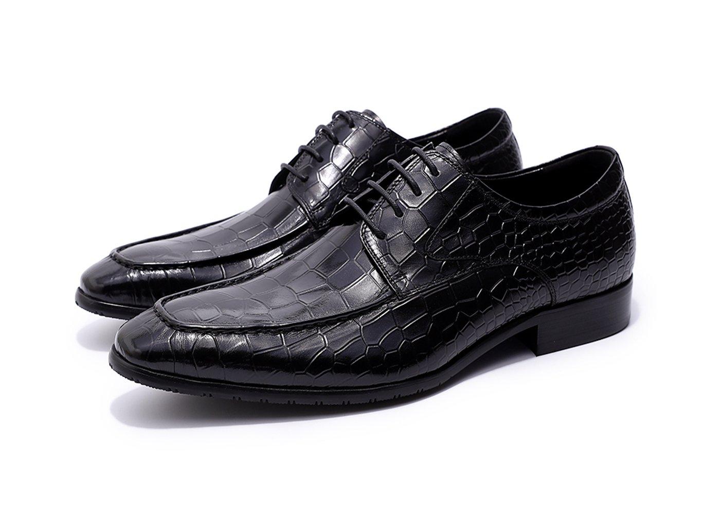Felix Chu Men's Black Oxford Shoes Men Genuine Leather Men Shoes Embossed Stone Leather Men Wedding Dress Shoes