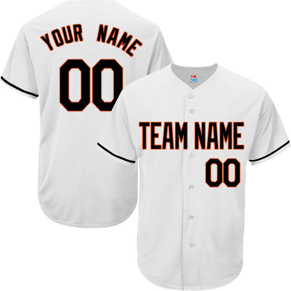 Pullonsy White Custom Baseball Jersey for Women Full Button Embroidered Name,Black-Orange Size 2XL by Pullonsy