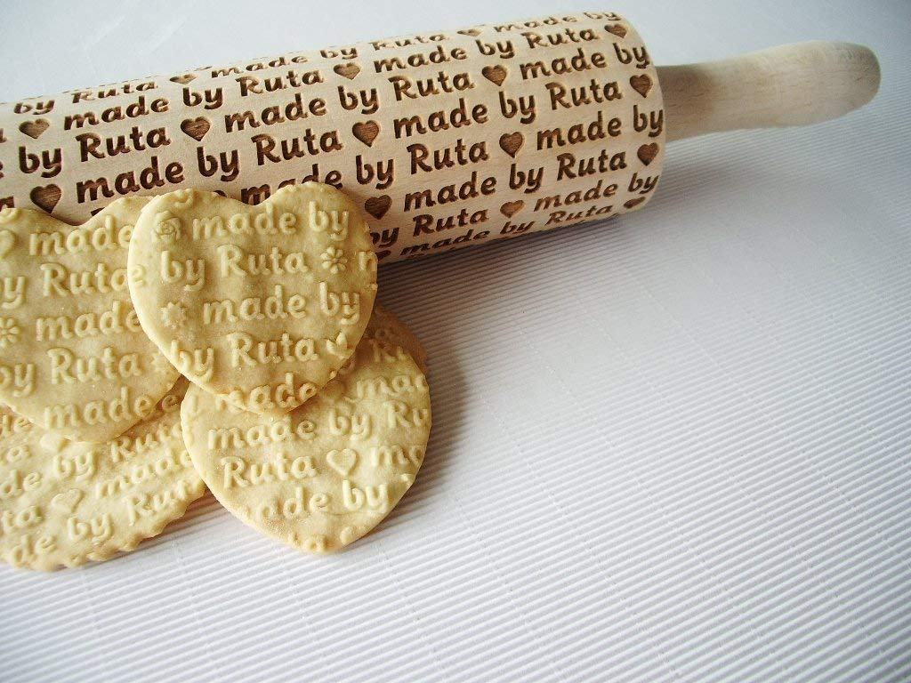 Personalized embossing rolling pin. Wooden rolling pin for embossed cookies. Personalized cookies. Custom engraved. Engraved custom logo by Sun Crafts