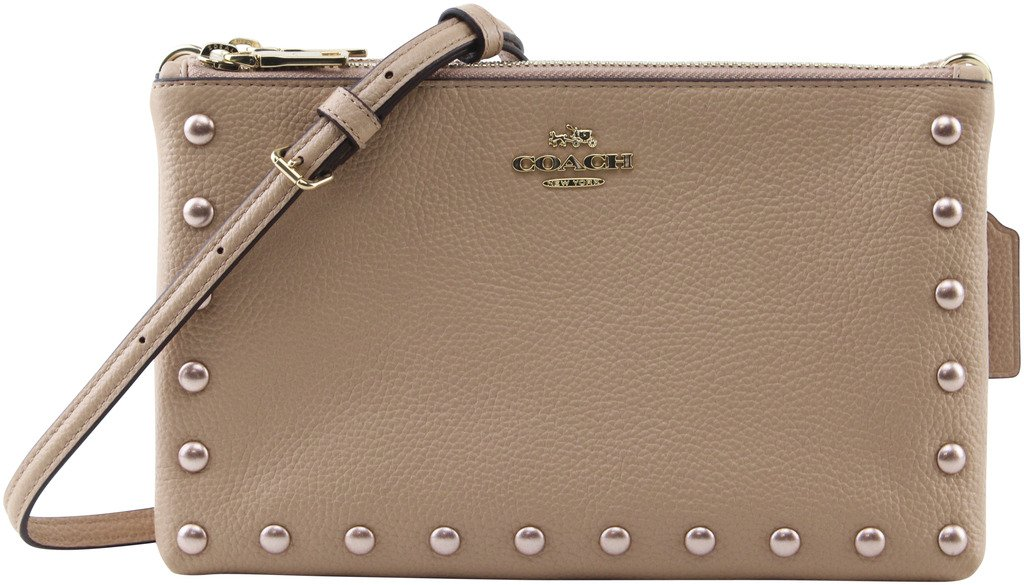 Coach Women's Hologram Lacquer Rivets Lyla in Nude Pink Pebble leather Crossbody Bag, Style F22566