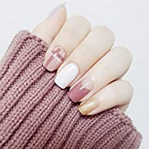 24 Pcs Glitter Gold White Pink Square Short Full Cover False Nail with Glue Stickers and Mini File