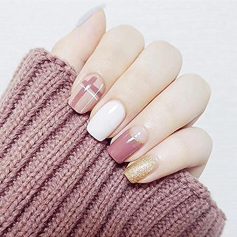 YuNail - 24 uñas postizas con pegamento, color dorado, blanco y rosa: Amazon.es: Belleza