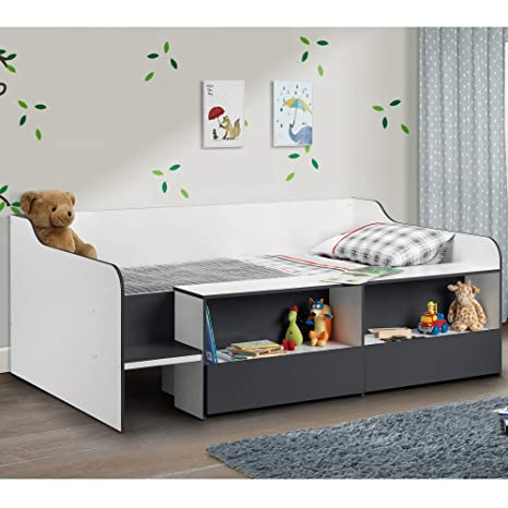 Kids low sleeper bed, happy beds stella charcoal grey white.