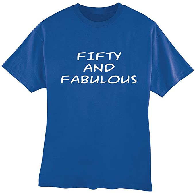 Awesome Graphics Fifty And Fabulous 50th Birthday Tee Shirt Adult Size Small Royal Blue