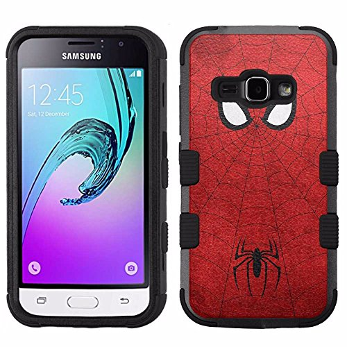 for Samsung Galaxy J1 (2016)/Luna/Amp 2/Express 3, Hard+Rubber Dual Layer Hybrid Heavy-Duty Rugged Armor Cover Case - Spiderman Red #S