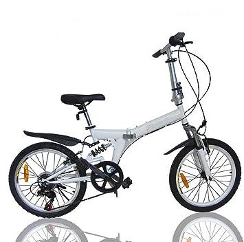 MASLEID Bicicleta plegable 7 Velocidad 20 pulgadas Ruedas Mountain Bike , white