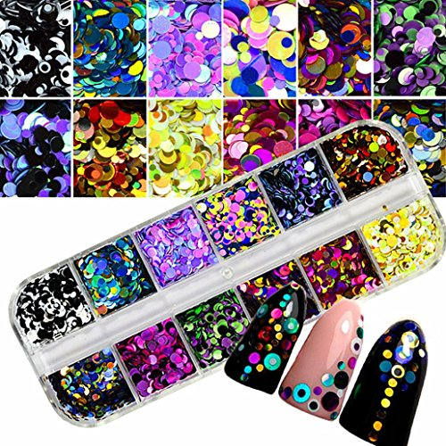 (Nail Art Stickers,Putars Fashion Sexy Colorful Nail Art Tips Stickers 3D Laser Makeup Manicure DIY Decals)