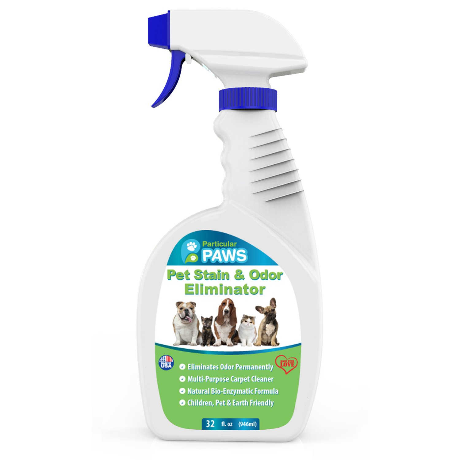 Particular Paws Pet Stain and Odor Remover - Professional Strength Triple Action Enzyme Spray Eliminates Dog and Cat Urine Stains and Smells - 32 oz by Particular Paws
