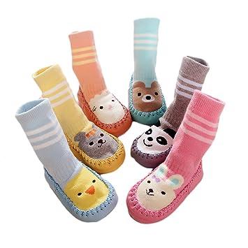 DINGANG® 6Pares de bebé Niños Niñas Mocasín antideslizante interior zapatos calcetines, 0