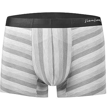 ST apparel Ropa Interior para Hombres Boxers para Hombres Moda Juvenil Rayas Cintura Boyshort Hombres (