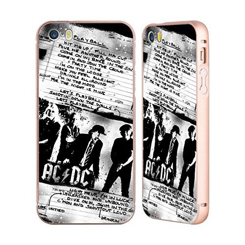 Officiel AC/DC ACDC Jouer Au Ballon Paroles Or Étui Coque Aluminium Bumper Slider pour Apple iPhone 5 / 5s / SE