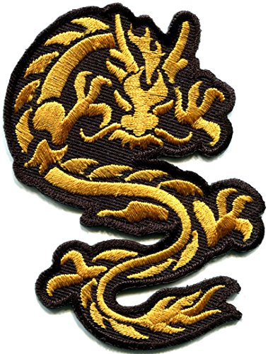 Chinese dragon gold kung fu martial arts biker tattoo embroidered applique iron-on patch new