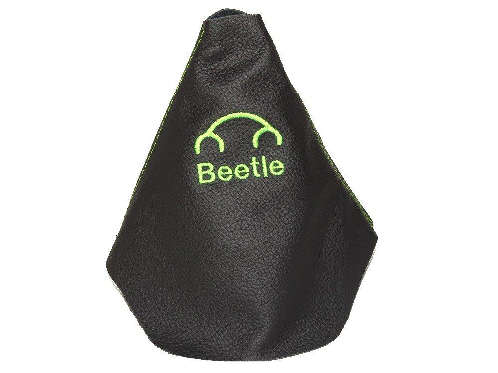 Palanca de cambios de cuero negro verde lima escarabajo bordado Logo