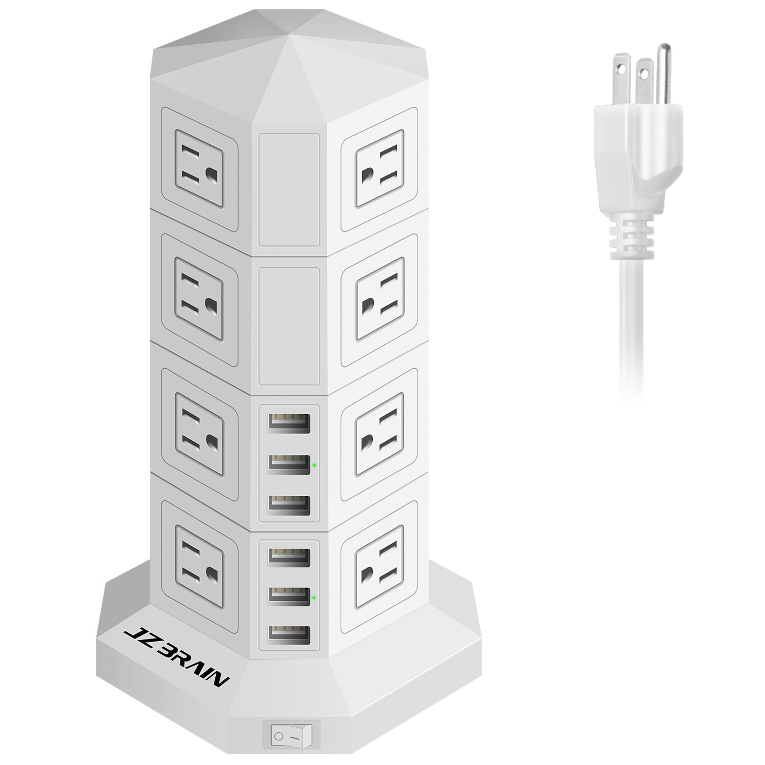JZBRAIN 16-Outlet 6-USB Tower Surge Protector Power Strip Power Socket Strip 9.8ft Cord (White)