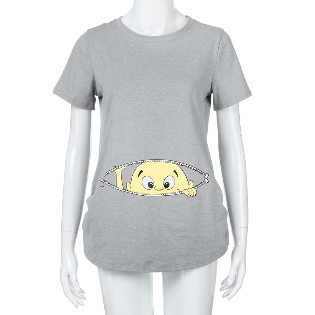Cinnamou Blusa Embarazada Para Premamá, Camiseta de Maternidad de Manga Corta Top con Moda Algodón con Estampado de Linda Encantador: Amazon.es: Ropa y ...