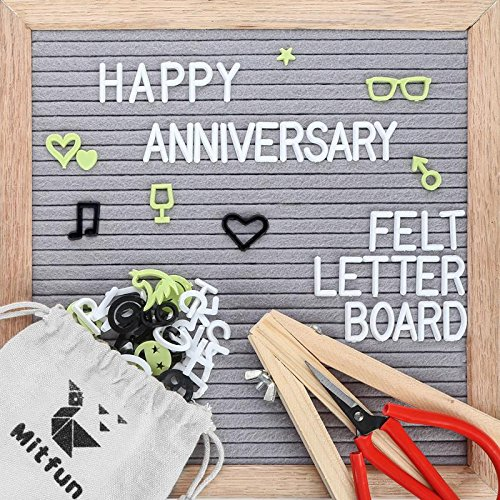 Felt Letter Board 10x10 Inches Grey Changeable Letters Include 408 White Black Green Plastic Letters, Oak Wood Frame Wooden Support Wall Mounted Plus Free Letter Bag Scissor