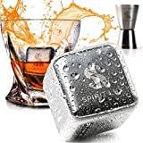 """King-Sized Stainless Steel Ice Cubes Whiskey Stones Gift Set of 2, Reusable Metal Ice Cubes for Whiskey, Bourbon,Scotch, Whiskey Rocks Chilling Stones 1.5""""+ Cork Coasters absorbent by Spirit Lux"""