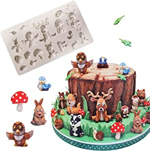BUSOHA Animal Molds Silicone Fondant - Zoo Animal Molds Cake Decorating Supplies for Chocolate DIY Cookies Candy Clay (Squirrel Rabbit Sika Deer Hedgehog Owl Snail Mushroom Animal Maple Leaf Forest)