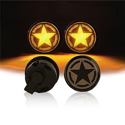 Hooke Road Star Turn Signal Lights Front Blinkers LED Parking Lights for 2007-2020 Jeep Wrangler JK & Unlimited: Automotive