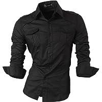 jeansian De Manga Larga De Los Hombres De Moda Slim Fit Camisas Men Fashion Shirts 8397