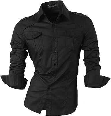 jeansian De Manga Larga De Los Hombres De Moda Slim Fit Camisas Men Fashion Shirts 8397: Amazon.es: Ropa y accesorios