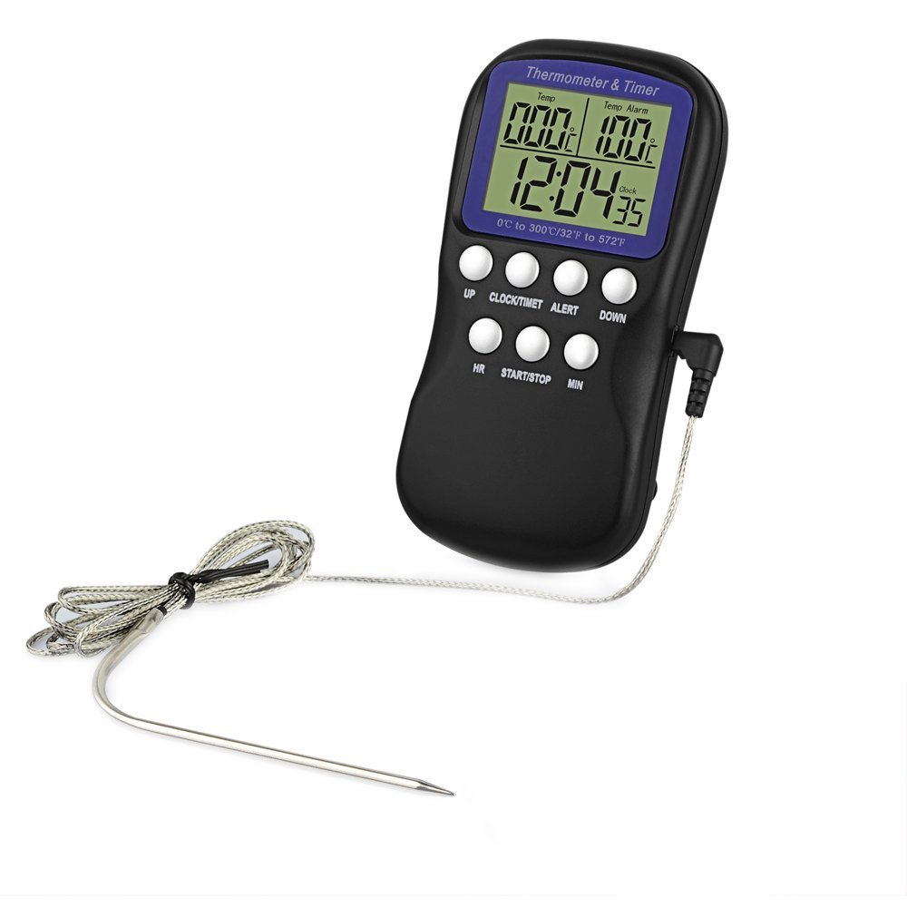 Digital Food Probe Oven Thermometer Kitchen Timer Cooking Clock - Switch between ℃ and ℉ Display - Functions as Timer and 12h/24h Clock eSynic