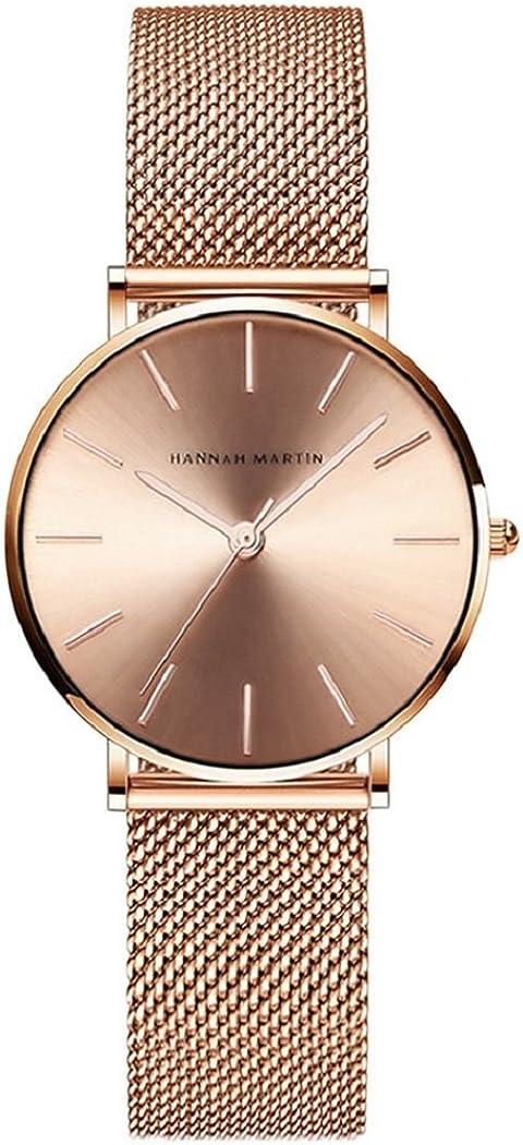 Relojes de Mujer, L'ananas Rosa Oro Acero Inoxidable Malla Pulsera Ajustable Tamaño Libre Lujoso Cuarzo Negocio Relojes de Pulsera con Caja de Regalo Business Wristwatches