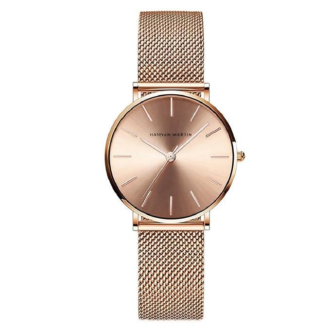 Relojes de Mujer, Lananas Rosa Oro Acero Inoxidable Malla Pulsera Ajustable Tamaño Libre