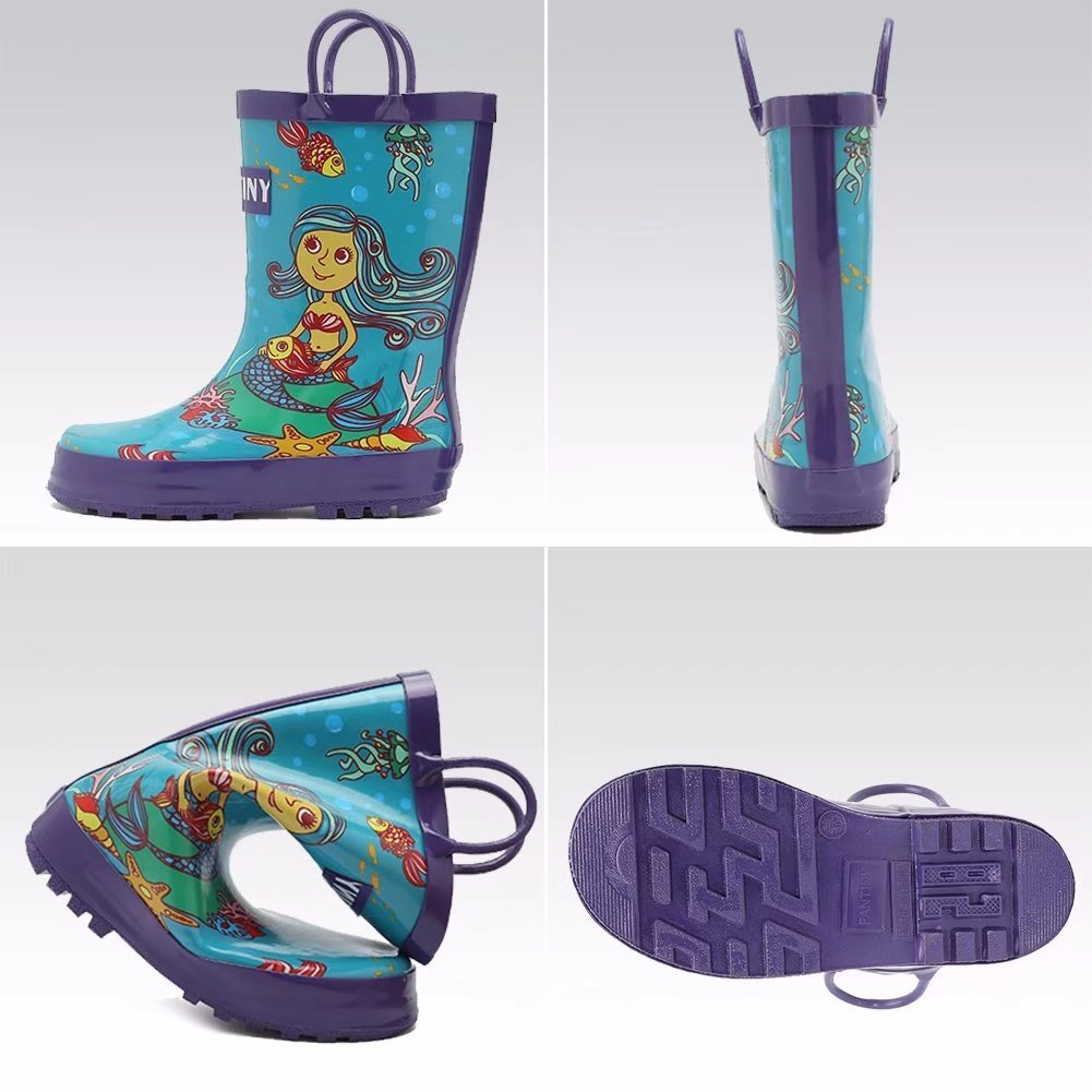 CIOR Toddler Rain Boots Girls Boys Durable PVC /& Rubber Kids Waterproof Shoes