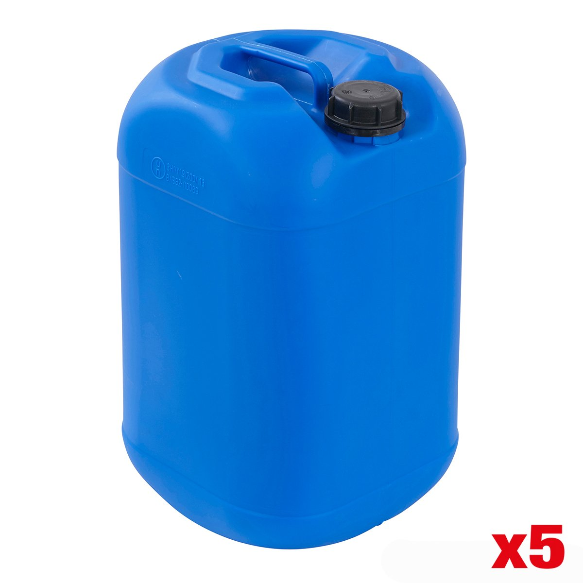 Plastic Stackable 25 Litre JerryCan Drum Storage Fuel Liquids Food Container - Packs Available (Pack Of 5 - Black 25 Litre Jerrycans) BiGDUG