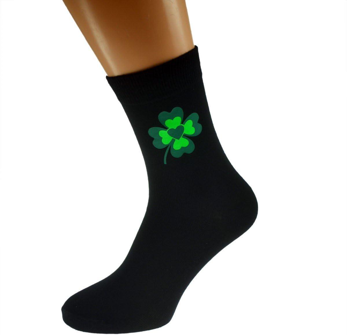 GTR-Prestige Giftware Lucky 4 Leaf Clover Heart Centre Mens Black Socks Adult size UK 6-12 Euro 39-46 X6N438