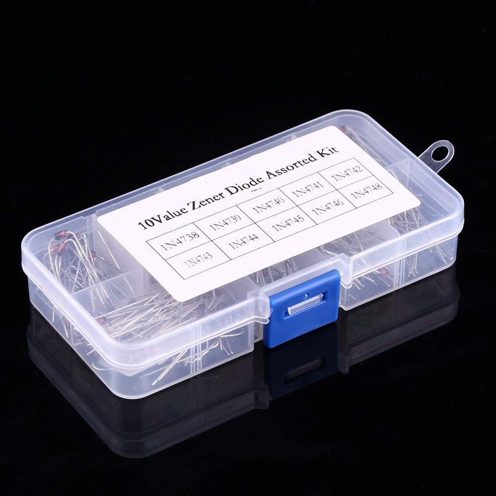 Rango 1N4738~1N4748 Yosoo Health Gear Diodo rectificador de 10 valores diodos reguladores de Voltaje electr/ónicos Paquete de 200