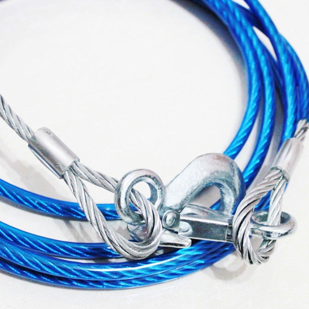 Cordes de Remorquage de 4 M/ètres R/ésistante 5 Tonnes D/épannage C/âble de Remorquage avec 2 Crochets de S/écurit/é pour Voitures