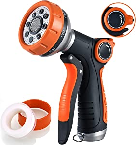 Garden Hose Nozzle Spray Heavy Duty Hand Sprayer with Flow Control, 100% Metal Spray Nozzle High Pressure Water Hose Nozzle with 8 Patterns for Garden Watering/Car Washing/Pet Showering