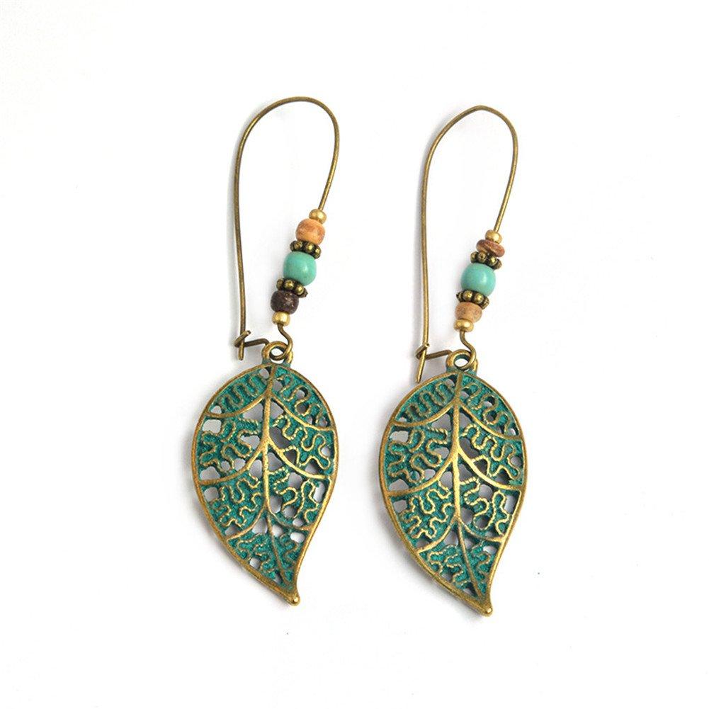 Alvade Creative Green Leaf Earrings, Elegant Silver-Plated Stud Earrings Girl Jewelry Diamond Jewelry Ladies for Gift Silver Jewelry Graduation Gift