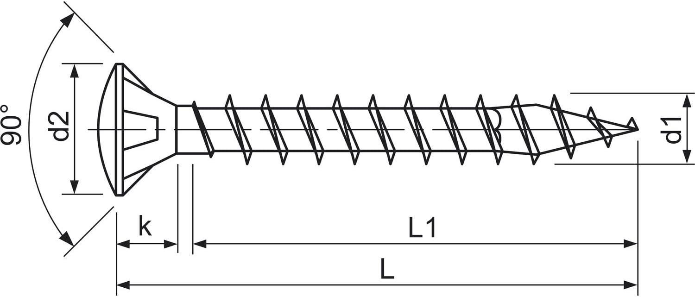 3,5 x 25 mm SPAX 241010350255 Screws Raised Countersunk Head Z 3.5 x 25 Pack of 1000 Blank galvanised