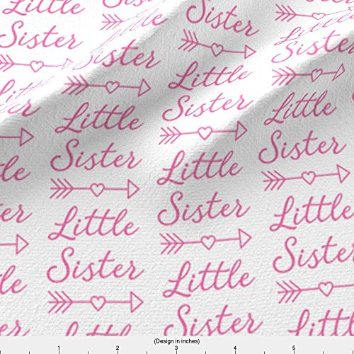 Swaddle Blanket Fabric Medium Little-Sister-With-Heart-Arrow - Bright Pink by Lilcubby Printed on Satin Fabric by the Yard by Spoonflower Sis Custom Fabric